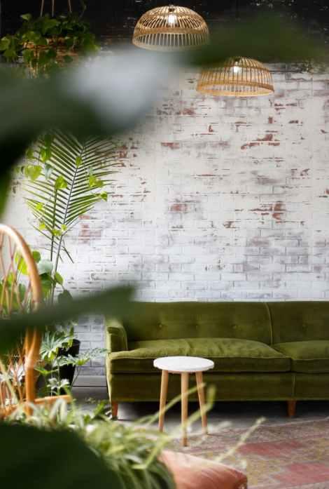 selective focus photography of green sofa